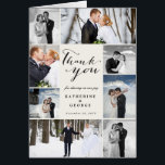 """Modern Classy Photo Collage Wedding Thank You Card<br><div class=""""desc"""">Modern Classy 8 Photo Collage Wedding Thank You Note Card. This modern and classy note card features a classic handwriting calligraphy &#39;thank you&#39; script within an 8 photo collage design layout. You can easily personalize it with your favorite wedding photos, names and your wedding date. You can also custom your...</div>"""