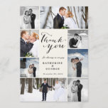 """Modern Classy Photo Collage Wedding Thank You Card<br><div class=""""desc"""">Modern Classy 8 Photo Collage Wedding Thank You Flat Card. This modern and stylish flat card features a classic handwriting calligraphy &#39;thank you&#39; script within an 8 photo collage design layout with an ivory off-white frame. You can easily personalize it with your favorite wedding photos, names and your wedding date....</div>"""