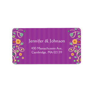 Modern Classy Purple Nature Swirl Floral Label
