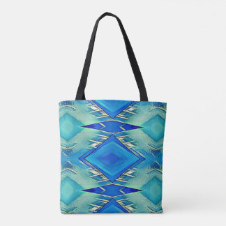 Modern Classy Royal Blue Teal Diamond Pattern Tote Bag