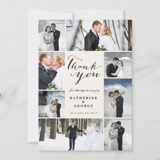 Modern Cly Script 8 Multi Photo Stylish Wedding Thank You Card