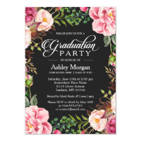 Modern Classy Typography Floral Graduation Party Card