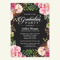 Modern Classy Typography Floral Graduation Party Invitation