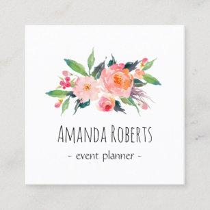 Modern Cly Watercolor Fl Personalized Square Business Card