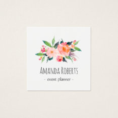 Modern Classy Watercolor Floral Personalized Square Business Card at Zazzle