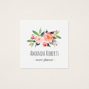 CardHunter Modern Classy Watercolor Floral Personalized Square Business Card