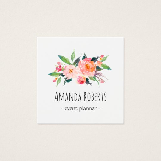 modern classy watercolor floral personalized square