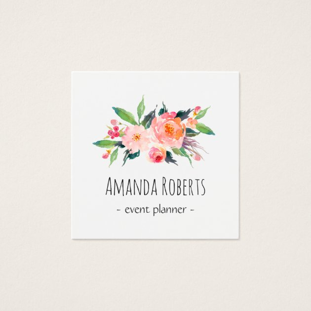 modern classy watercolor floral square business card
