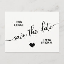 Modern Classy White Black Wedding SAVE THE DATE Announcement Postcard