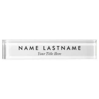 Modern Clean Minimalist White Desk Nameplate