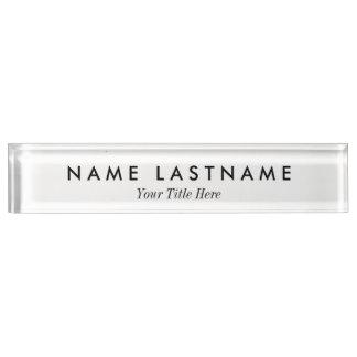 Modern Clean Minimalist White Desk Nameplate