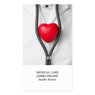 Modern Clean Red Heart Doctor Business Card