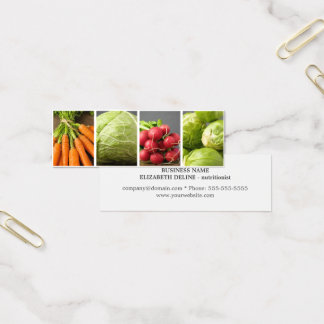 Modern Clean Vegetables Photo Nutritionist Mini Business Card