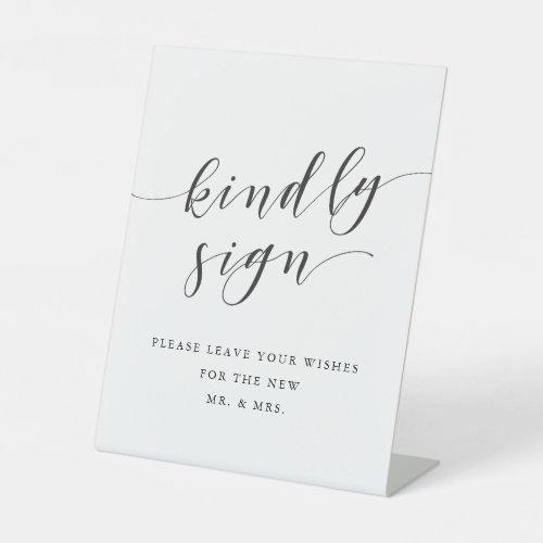 Modern Clligraphy Wedding Guest Book Pedestal Sign