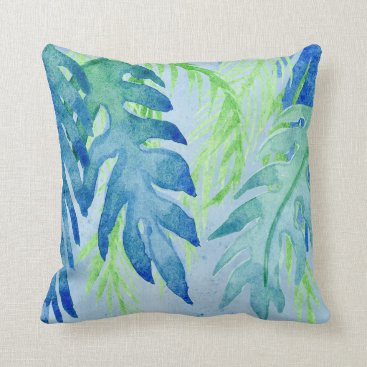 Beach Themed Modern Coastal Tropical Colorful Leaves Ocean Blue Throw Pillow