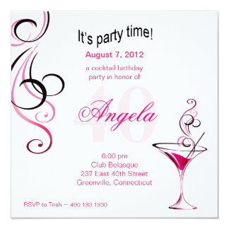 Modern Cocktail 40th Birthday Party (fuschia) Card