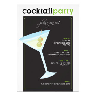 Modern Cocktail Party Invitation (lime green)