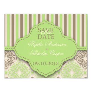 "Modern coco mint damask save the date card 4.25"" x 5.5"" invitation card"