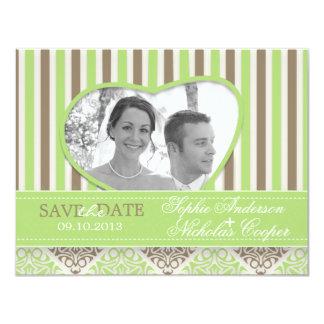 "Modern coco mint damask save the date card photo 4.25"" x 5.5"" invitation card"