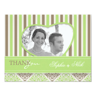 Modern coco mint damask wedding thank you photo card