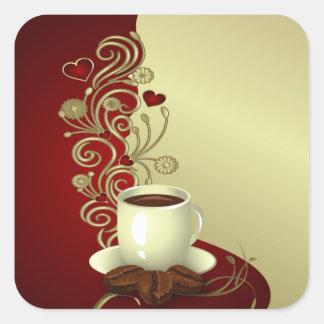 Modern Coffee Lover Square Sticker