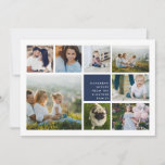 "Modern Collage | Hanukkah Photo Card<br><div class=""desc"">Modern Hanukkah photo collage card features eight photos arranged in a grid layout,  with your personal holiday message and names in white on rich navy blue. A simple and minimal design that shows off your favorite photos.</div>"