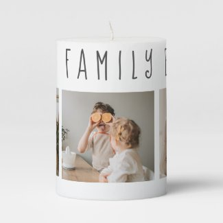 Modern Collage Photo & Best Family Ever Best Gift Pillar Candle