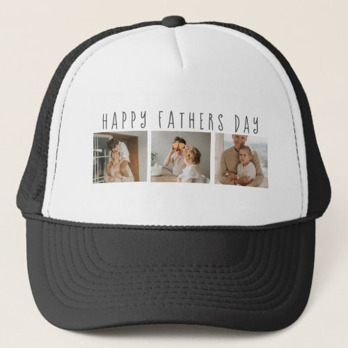 Modern Collage Photo & Happy Fathers Day Best Gift Trucker Hat