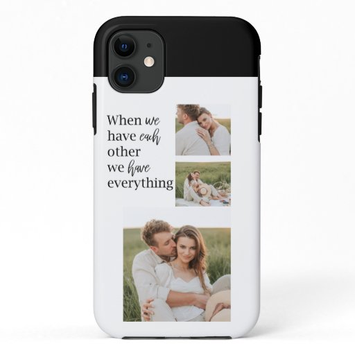 Modern Collage  Photo Romantic Couple Quote Gift iPhone 11 Case
