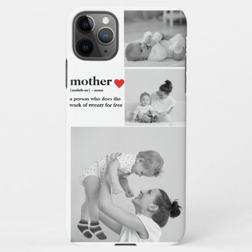 Modern Collage Photo & Text Red Heart Mother Gift Phone Case