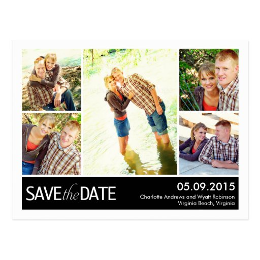 Modern Collage Save The Date Postcard Postcards