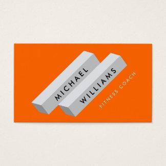 Modern Color Block Logo Gray on Bright Orange Business Card