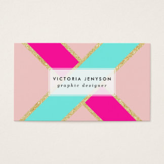 Modern color block neon pink mint gold stripes business card