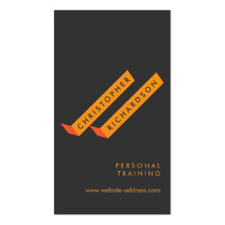 Modern Color Block Orange/Gray Personal Trainer Business Card