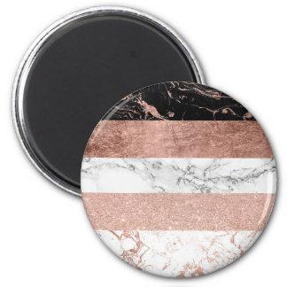 Modern color block rose gold marble stripe pattern magnet