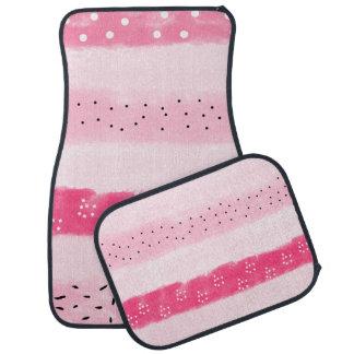 modern color block stripes white pink brushstrokes car floor mat