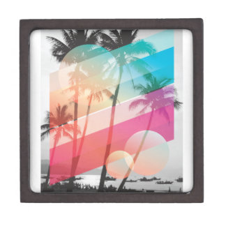 Modern Color stripes coconut trees background Jewelry Box