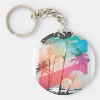 Modern Color stripes coconut trees background Keychain