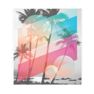 Modern Color stripes coconut trees background Notepad