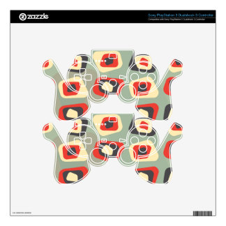 Modern colored curved rectangle pattern PS3 controller skins