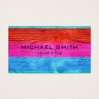 Modern Colored Stripe Wood #11 Business Card