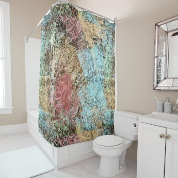Beach Themed Modern Colorful Abstract Brushstrokes Art Pattern Shower Curtain