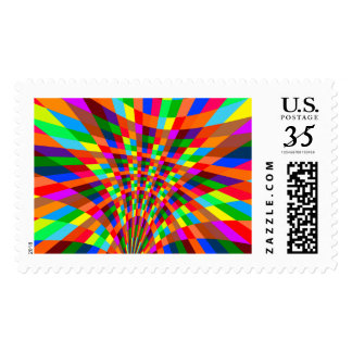 Modern Colorful abstract Pattern colors blue red Postage