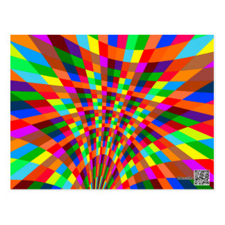 Modern Colorful abstract Pattern colors blue red Postcard