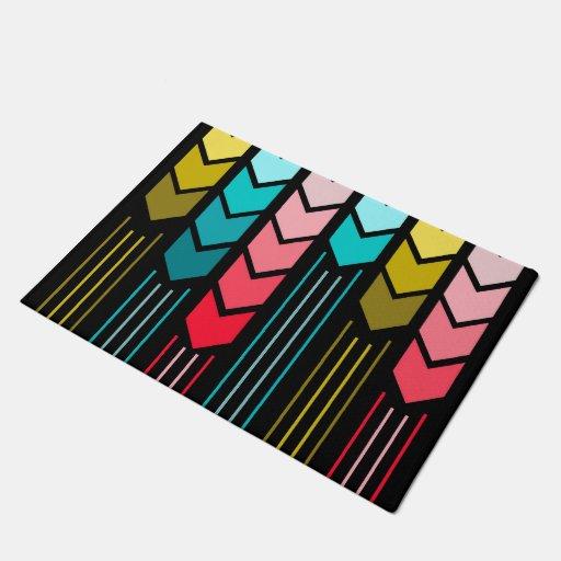 Modern Colorful Arrows Pattern On Black Doormat Zazzle