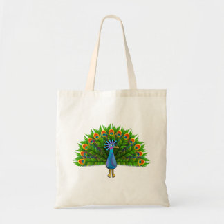 Modern Colorful Aztec Peacock with Green Feathers Tote Bag