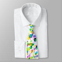 Modern Colorful Bright Watercolors Splatter Tie