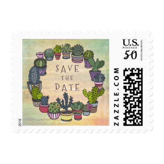 Modern Colorful Cactus Save The Date Postage