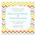 """Modern Colorful Chevron Zigzag Wedding Invitation 5.25"""" Square Invitation Card"""
