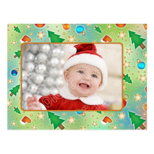 Modern, colorful Christmas card with baubles and s Post Cards